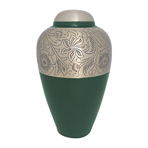 - Antique Hand Engraved Semi Floral Green Brass Adult Urn for Human Ashes