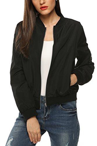 Zeagoo Womens Classic Quilted Jacket Short Padded Bomber Jacket Coat Black