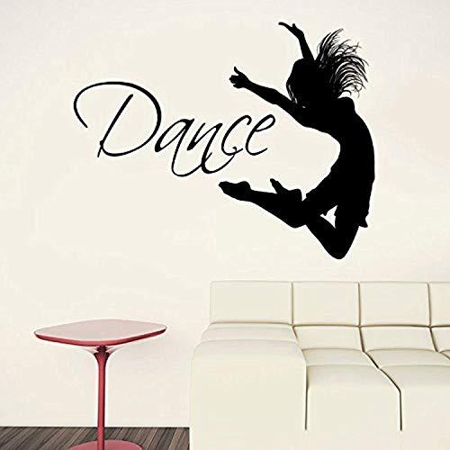 (Quotes Dance Quote Dancer Silhouette Gymnastics Girls Kids Children Gift Nursery Dance Studio Ballerina Ballet Bedroom Mural Wall Decals Decor Vinyl Sticker SK16499)