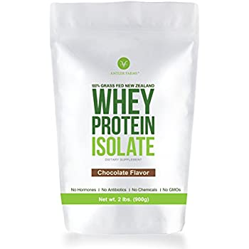 Antler Farms - 100% Grass Fed New Zealand Whey Protein Isolate, Chocolate Flavor, 30 Servings, 2 lbs - Delicious, Cold Processed, Rapidly Absorbed, ...