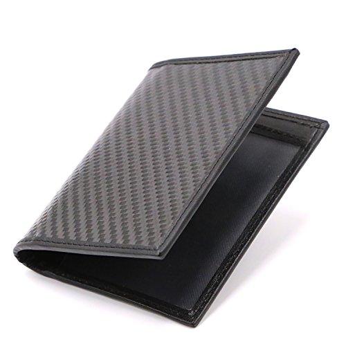 (HuangXu Credit Card Holder Carbon Fiber Wallet Vertical Bifold Slim Wallet Card Case)