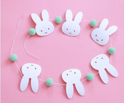 Rabbit Banners with Pompons – パステルFelt Rabbitガーランド – パーティーの装飾ベビールーム、ベビーシャワー、誕生日パーティー、1st誕生日、結婚。   B07DNQN6BX