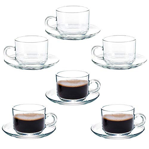 Coffee Cup Glass Teacup, Cappuccino Cups, Coffee Cups, Clear and Lightweight Glass Tea and Coffee Cup with Saucer(Set of 6) Gift Box (Coffee Clear Cups And Glass Saucers)