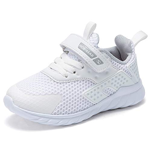 HOBIBEAR Kids Running Shoes Outdoor Sneakers Athletic Shoes Fashion Shoes Toddler Boys Girls(White 1.5) (Cheerleading Tennis Shoes)