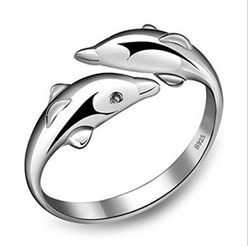 preeyanan wholesale 925 silver double dolphin ring women's fashion jewelry Christmas gift