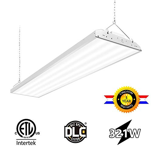 CINOTON 4FT Linear LED High Bay Light, LED Shop Light Fixture 321W 41730lm 1-10V dimmable 5000K [400W Fluorescent Equiv.] Motion Sensor Optional, Indoor Commercial Warehouse Area Light
