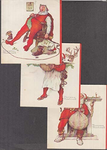 (Three 1950s Norman Rockwell Santa Claus greeting cards Coutts Hallmark Canada)