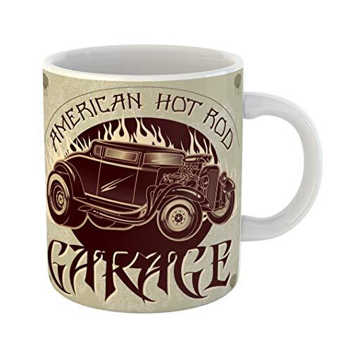 Emvency Funny Coffee Mug Speed American Hot Rod Garage Vintage of Custom Old School Car with Flames Auto 11 Oz Ceramic Coffee Mug Tea Cup Best Gift Or Souvenir ()