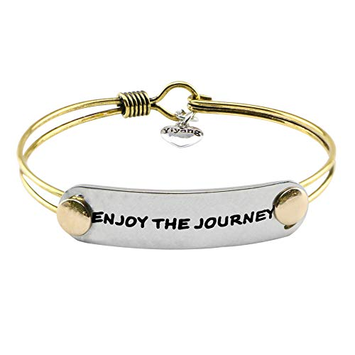 - UNQJRY Graduation Bracelet for Girls Friendship Retirement Brass Jewelry Inspirational Birhtday Gifts for Friends Saying Enjoy The Journey