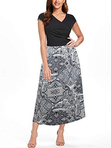(oxiuly Women's V-Neck Summer Casual Loose Long Dress Cap Sleeve Split Maxi Dresses with Pocket OX233 (S, BK WP MX))