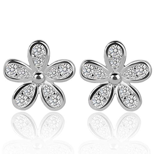 KeXuan Daisy Stud Earrings for Women or Girls, with .925 Sterling Silver Stud and AAA Zirconia, Silver