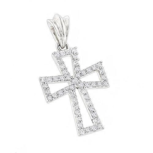 Small 14K Designer Natural 0.2 Ctw Pave Set Diamond Cross Pendant (White Gold)