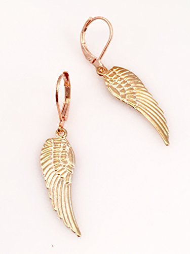 (Rose Gold Plated Angel Wing Medium Sized Earrings )