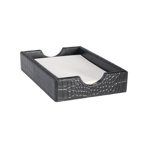 (Graphic Image Crocodile Embossed Leather Memo Tray, 5