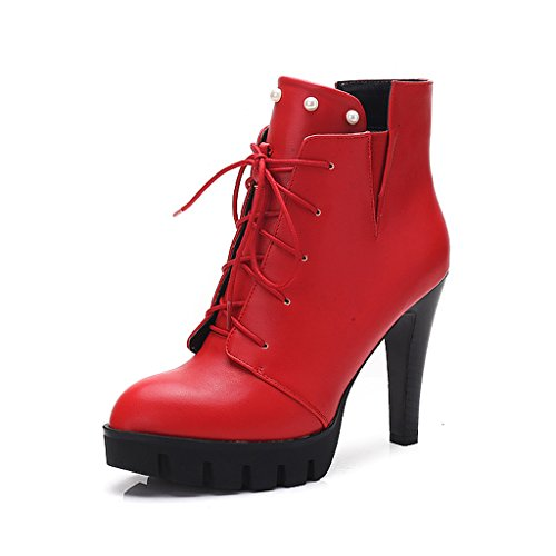 Women 's Martin boots spring and autumn thin shoes personality high heels short boots ( Color : Red , Size : US:5UK:4EUR:35 ) by LI SHI XIANG SHOP (Image #7)