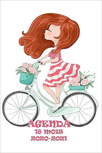 Agenda 18 Mois 2020 2021: Heureuse fille française à bicyclette