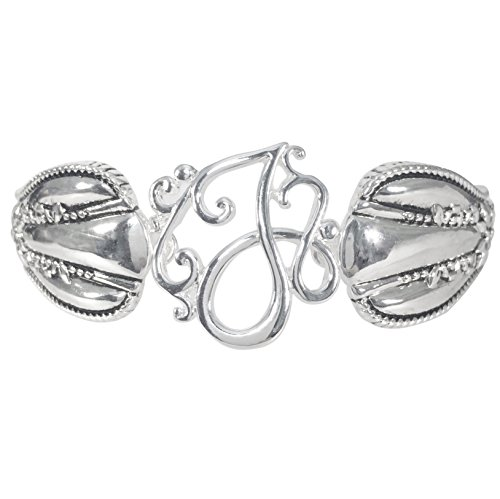 Gypsy Jewels Spoon Handle Style Monogram Initial Silver Tone Magnetic Clasp Bracelet (Letter J)