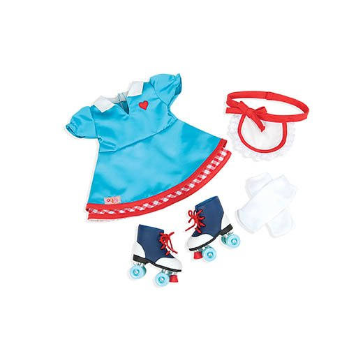 Roller Girl Outfit (Our Generation Dolls Soda Pop Sweetheart Retro Roller Skate Outfit for Dolls, 18