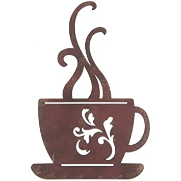 Amazon.com: Red Rustic Metal Coffee Cup Wall, Kitchen, Restaurant ...
