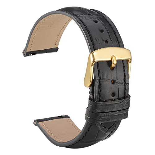 WOCCI 18mm Watch Band Quick Release - Alligator Embossed Leather Watch Strap Black with Gold Buckle