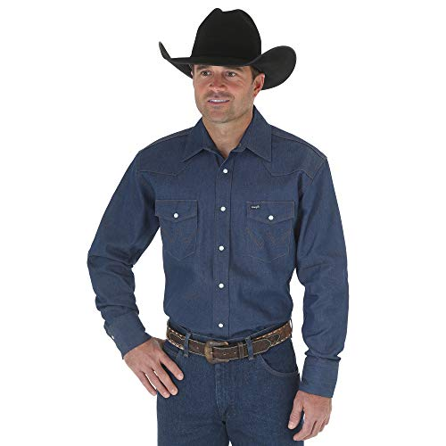 Glory Mens Button Front Shirt - Wrangler Men's Authentic Cowboy Cut Work Western Long-Sleeve Firm Finish Shirt, Rigid Indigo Denim, X-Large
