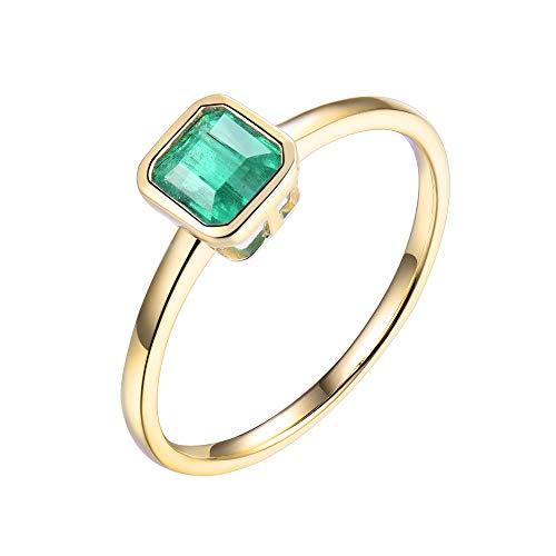 Genuine Princess Cut Emerald Diamond Statement Rings in 18K Yellow Gold