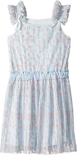 BCBG Girls Girl's Flocked Mesh Dress (Big Kids) Soft Blue 12