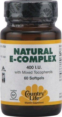 Country Life, Natural  E- Complex, 400 I.U.,  Softgels, - Vitamin Country Life Natural