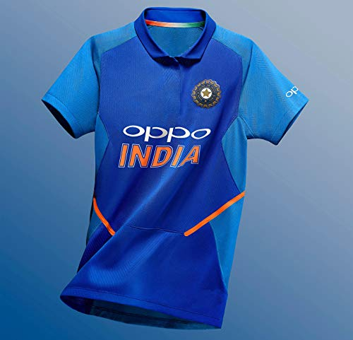 (KD Cricket India Jersey 2019 Replica Team India Uniform Home Primary Tshirt Size Small to 2XL Customize Name Number World Cup 2019 (Dhoni,40))
