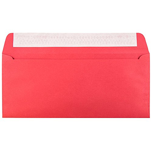 (JAM PAPER #10 Business Colored Recycled Envelopes with Peel and Seal Closure - 4 1/8 x 9 1/2 - Red Recycled - 50/Pack)