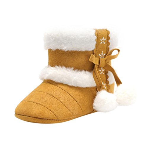 Voberry Baby Toddler Girls Knit Soft Winter Warm Snow Boot Fur Trimmed Pom Pom Boots (12~18 Month, Khaki 3)