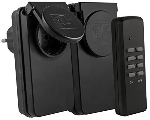 mumbi Funksteckdosen Outdoor Set: 2 x Funksteckdose für Aussen + 1 x Fernbedienung - Plug & Play - 1000 Watt
