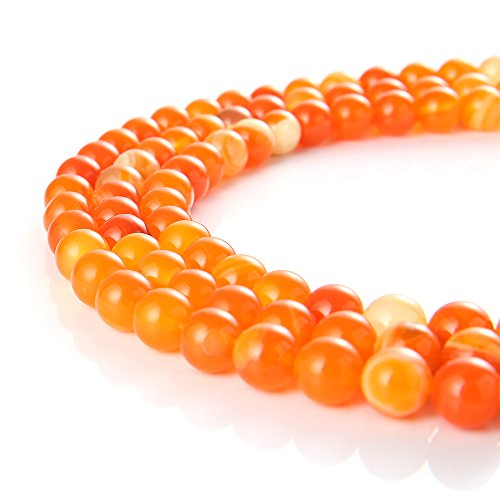 wanjin Natural orange Stripe Agate Gemstone Round Loose Beads For Jewelry Making Findings /Accessories 1 Strand 15.5 inches -10mm