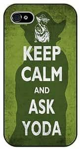 XiFu*Meiiphone 5/5s Keep calm and ask Yoda - black plastic case / Keep calm, funny, quotes, StarwarsXiFu*Mei