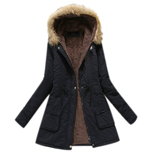Coat Hood Ladies Trench Parkas Padded Military Jacket Anoraks Navy Parka Thick Parka with Womens Coats Winter Black Long Fall wZqYnRX8C