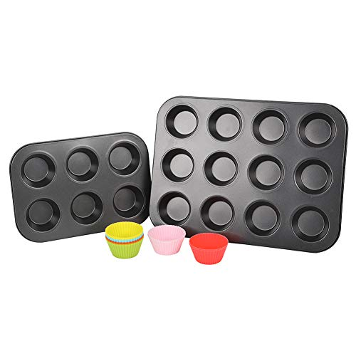 Nonstick carbon steel 12 muffin pan, , advantage nonstick6 cup cupcake pan,reusable siliconebaking cups pack -12 by Yong