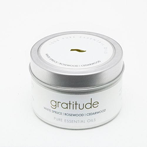 THE Pure Candle * Healthy Vegan Candle * Aromatherapy Soy Candle - Gratitude Scented Candle with White Spruce, Rosewood Pure Essential Oil Candle, Made in USA