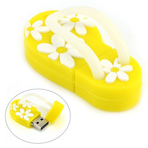 8GB USB Flash Drive with Flower Pattern Beach Sandal Shape (Yellow)