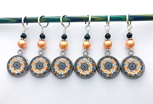 Amber Medallion Stitch Markers for Knitting or Crochet Gift for Knitters