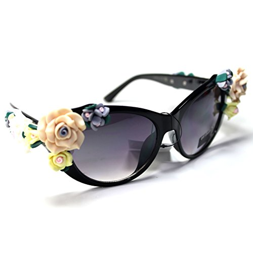 #Sonic23-S1 SONIC Eyewear Floral Flowers Cateye Women's - Sunglasses Cat Gaga Eye Lady