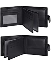 Eono Essentials Leather Wallets for Men with RFID-Leather Wallets for Men Slim Wallet Multi ID Card Coin Pocket Wallet (Black Nappa)