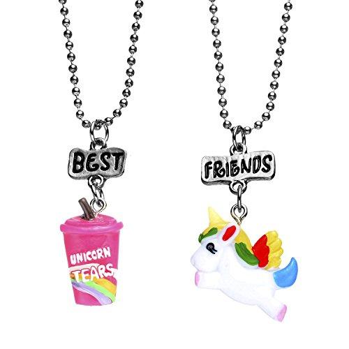 Pibupibu 2 Packs Best Friends Kids Children Resin Pendant Necklace (Unicorn Tears)