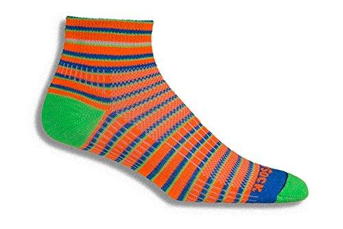 Wrightsock Coolmesh II Quarter Running Socks - 2 Pack, Orange Stripes, (Wrightsock Double Layer Running Quarter)