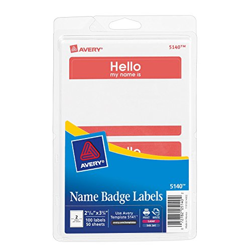 Avery Print or Write Name Badge Labels with Red Border]()