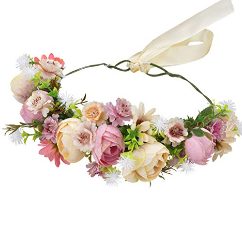 justable Flower Headband Hair Wreath Floral Headpiece Halo with Ribbon Wedding Party Festival Photos Pink ()