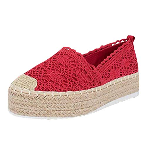 Nadition Boat ShoesWomen's Lace Hollow Espadrilles Platform Shoes Solid Breathable Chunky Bottom Shoes Red