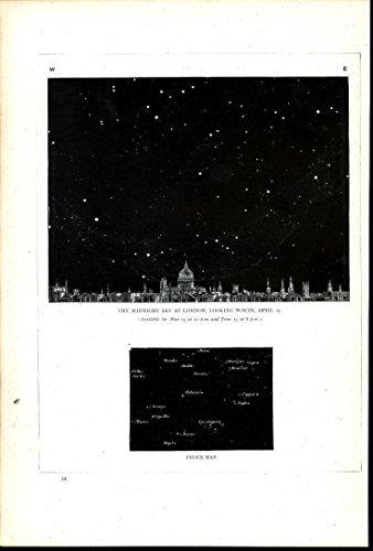 - North Midnight Sky London Polaris Taurus 1881 antique lithograph celestial print