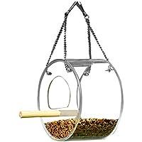 Hanging Wild Bird Feeder Acrylic Bird Feeder With Stand for Outside Hanging Feeding Box Outdoor Waterproof Circular Design