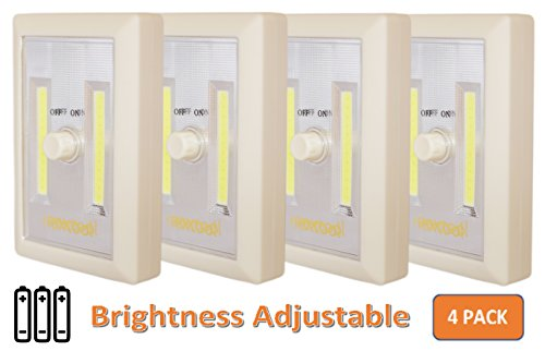 [New Version] 4-Pack Dimmable Battery Included COB LED Cordless Switch Light, Adjustable Brightness, Tap Light, Battery Operated LED Night Light, Battery & Adhesive Strip (Included), Cream