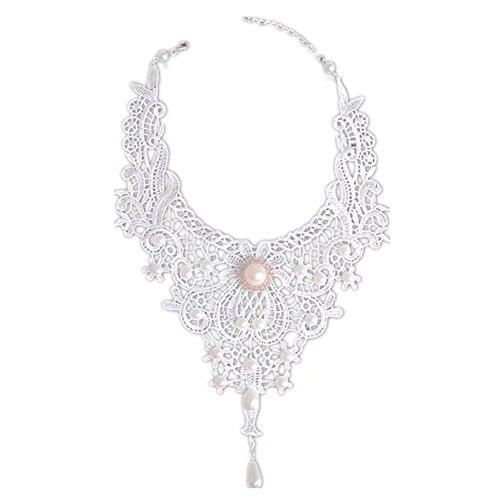 LEFINIS Lolita Bridal Gothic Rose Flower Braided White Lace Beads Choker Necklace Earring Set